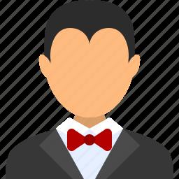 account, avatar, male, man, steward, user, waiter icon