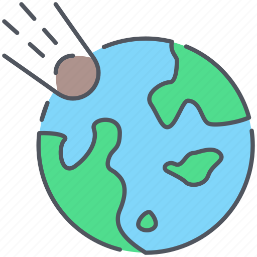 apocalypse, asteroid, disaster, earth, hit, planet, space icon