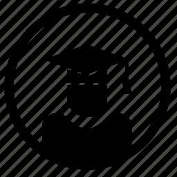 avatar, level, phd, professor, round icon
