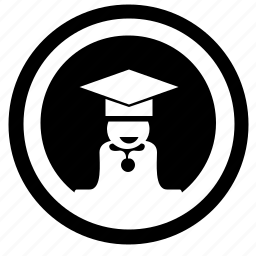 avatar, level, phd, round, student, university icon