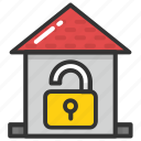 home protection, house security, house surveillance, real estate, unlocked house icon