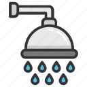 bath, bath shower, shower head, taking shower, water drops icon