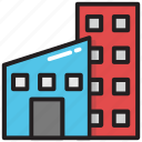 apartment blocks, apartment house, city building, commercial building, flats building icon