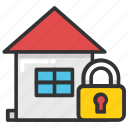 home security, house closed, house security, locked house, secure house icon