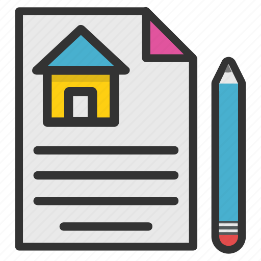 house investment, legal documents, mortgage loan, property papers, rental agreement icon
