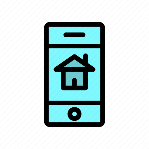 apartment, building, estate, home, house, phone, real icon