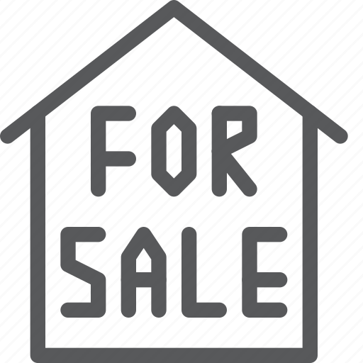 House, sale, for, real, home, estate, sign icon