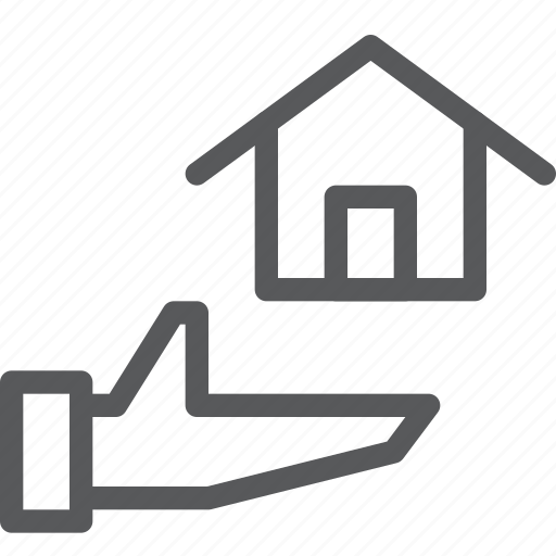 estate, hand, home, house, real, share, sharing icon