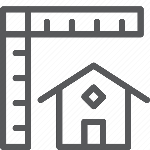 estate, home, house, measure, proportions, real, scale icon