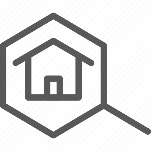 estate, home, house, magnifier, real, search, view, zoom icon