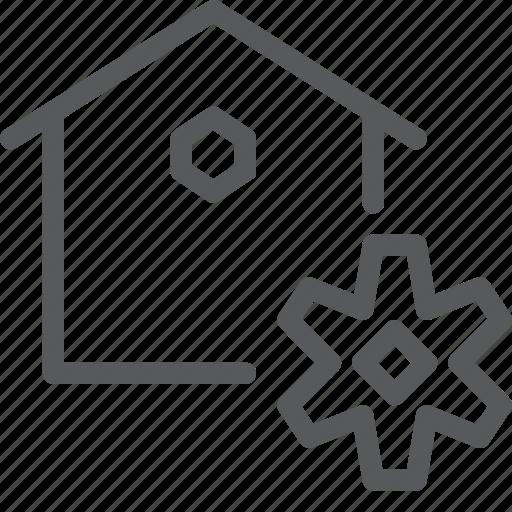 cog, configuration, custom, estate, home, house, real, settings icon