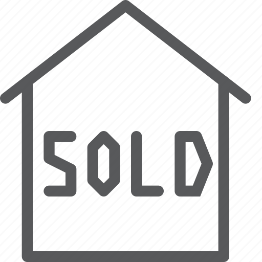 estate, home, house, purchased, real, sign, sold icon