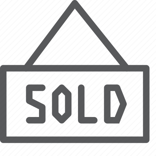 board, estate, info, real, sales, sign, sold icon