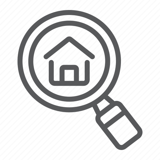 company, estate, find, home, house, real, search icon