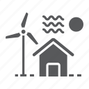 ecology, electricity, estate, home, house, real, windmill icon