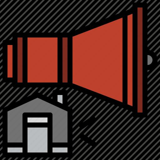 advertising, announcement, bullhorn, communications, loudspeaker, megaphone, shout icon