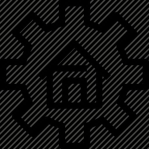 building, estate, management, process, property icon