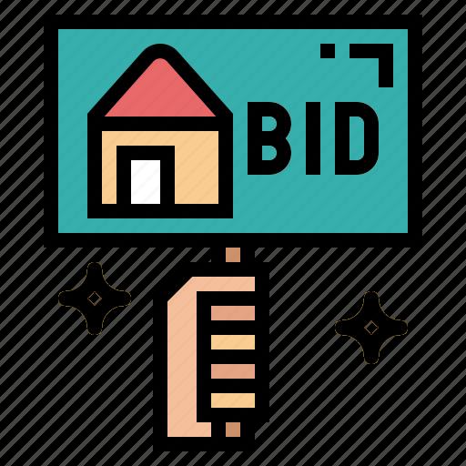 auction, bid, compete, label icon