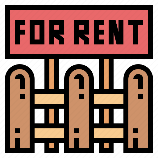 fence, rent, sign, signaling icon