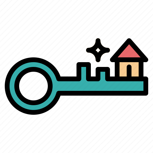 house, key, lock, security icon