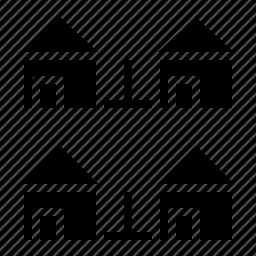 estate, house, houses, real, village icon