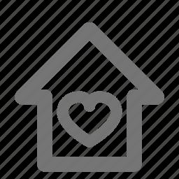 heart, home, house, like icon