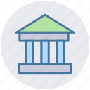 bank, building, commercial, court, courthouse, law building, office icon