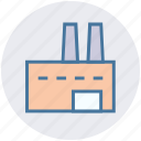 building, company, factory, industry, production, work icon