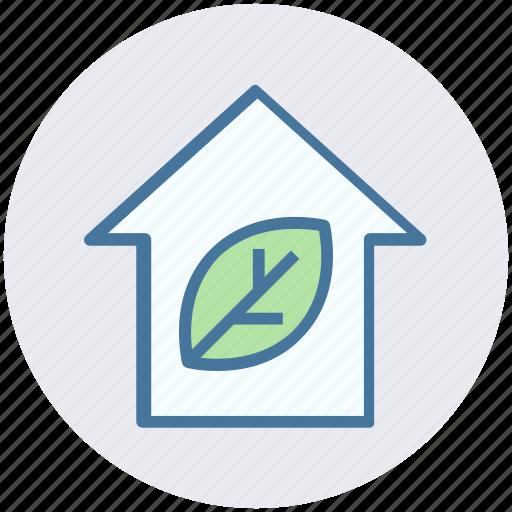eco home, ecology, house, leaf, nature, plant, smart home icon