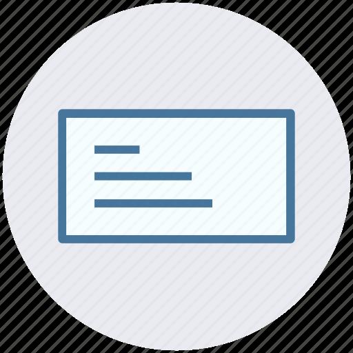 bank check, check, check book, document, paper icon