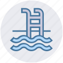 ladder, pool, sea, swim, swimming, water, waves icon