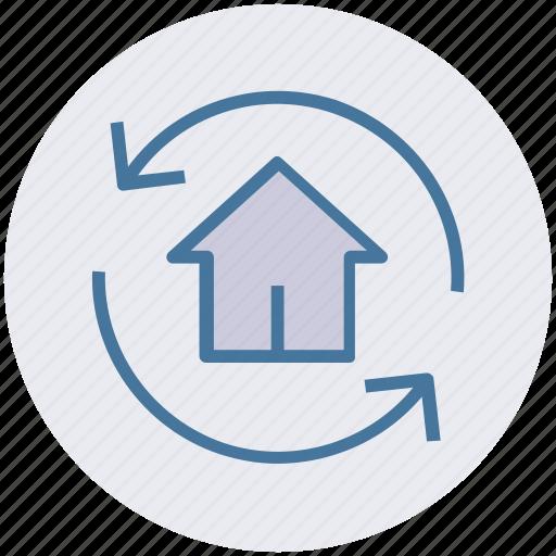 home, house, refresh, rotate, sync, sync home icon