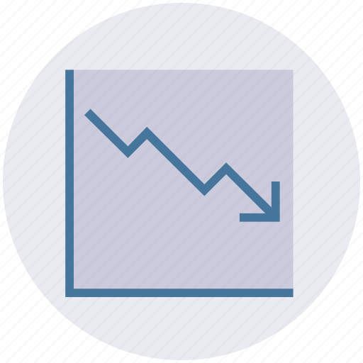 arrow, business, chart, dashboard, down, graph, growth icon