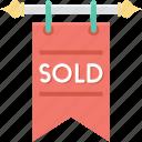 hanging sign, sign bracket, signage, sold, sold signboard