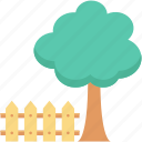 fence, garden, lawn, park, tree, yard icon