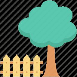 fence, garden, lawn, park, tree, yard icon