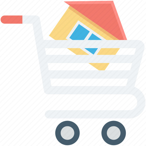 house, house in cart, online property, real estate, shopping cart icon