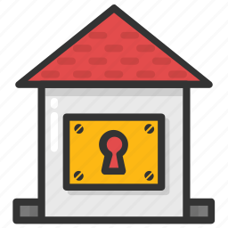 house insurance, house keyhole, house security, locked house, real estate icon