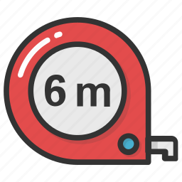 gauge, inches tape, measurement, measuring meter, measuring tape icon