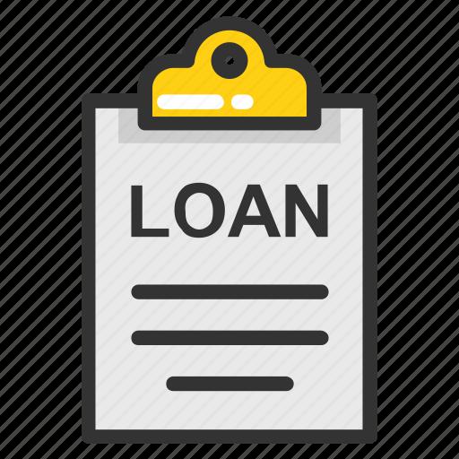 clipboard application, loan agreement, loan application, loan contract, loan papers icon