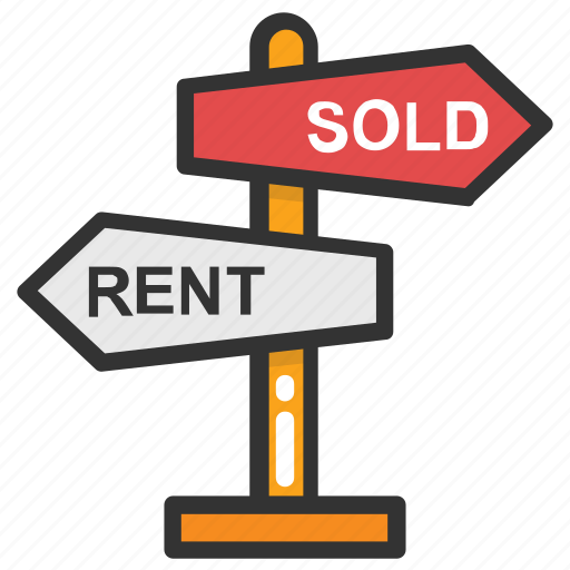 property rental, real estate marketing concept, rent, sold, tenant lease icon