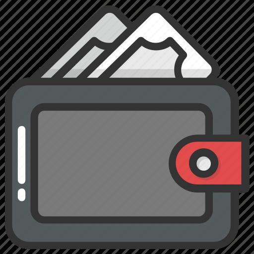 billfold wallet, cash in wallet, cash purse, purse, wallet icon