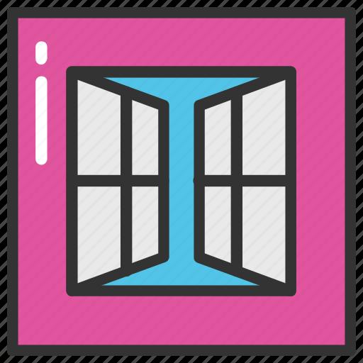 apartment window, home interior, home window, window, window frame icon