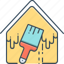 brush, home, house, painting, painting and renovation, renovation icon