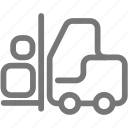 box, construction, equipment, fork lift, transport icon