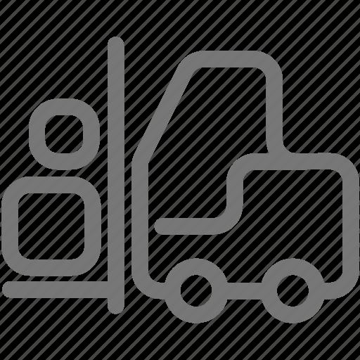 box, construction, equipment, fork lift, transport icon
