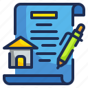 contract, estate, house, mortgage, property icon