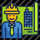 building, engineer, industry, job, worker icon
