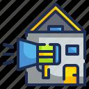 advertising, announcer, estate, house, marketing icon