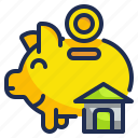 funds, house, money, piggy, save icon